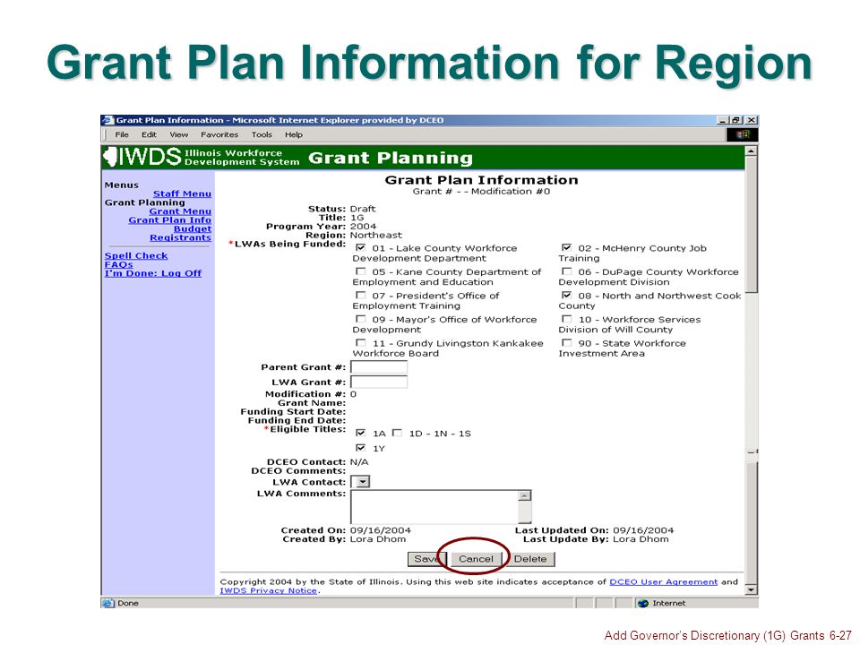 Add Governors Discretionary (1G) Grants 6-27 Grant Plan Information for Region