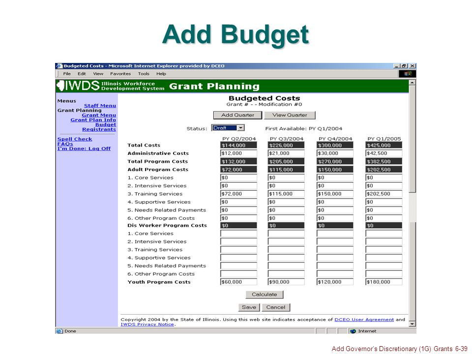 Add Governors Discretionary (1G) Grants 6-39 Add Budget