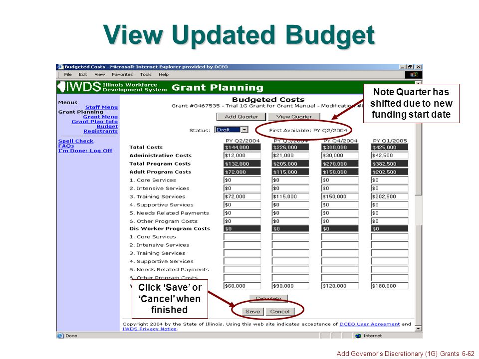 Add Governors Discretionary (1G) Grants 6-62 View Updated Budget Note Quarter has shifted due to new funding start date Click Save or Cancel when finished