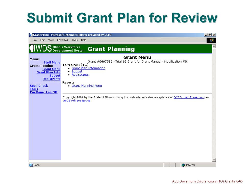 Add Governors Discretionary (1G) Grants 6-65 Submit Grant Plan for Review