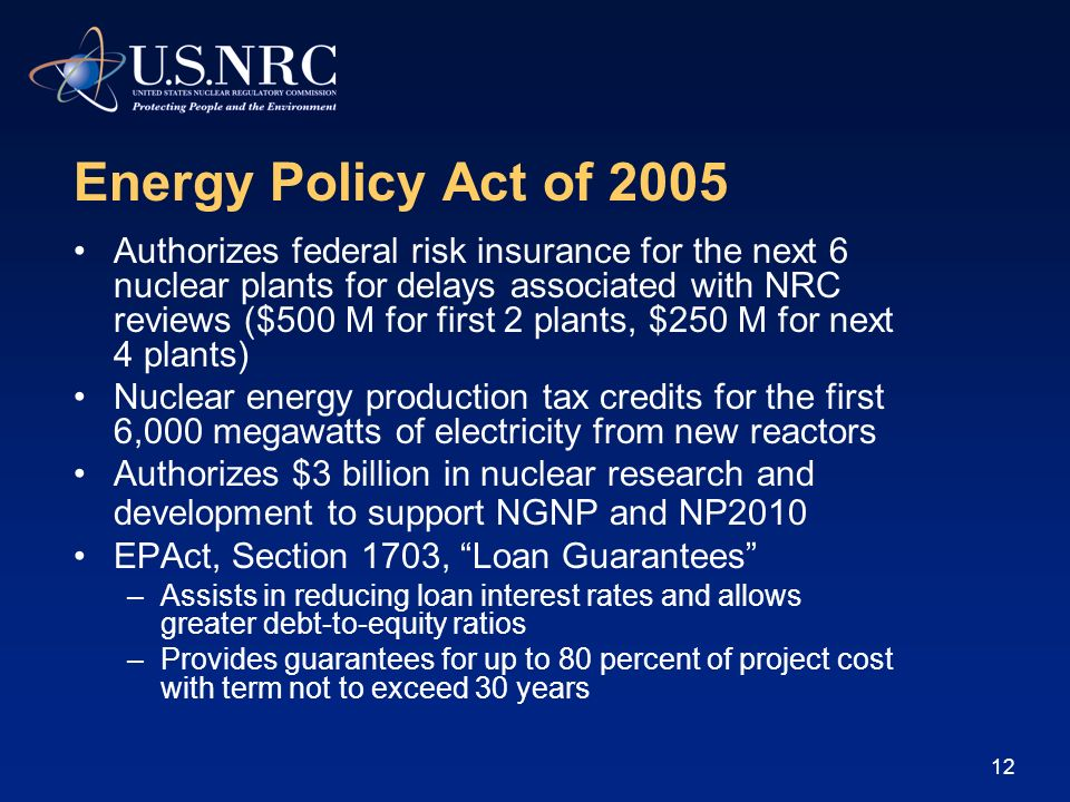 11 Outline of Presentation Energy Policy Act of 2005 Brief tutorial on Part 52 Early Site Permits Design Certifications Combined License Applications