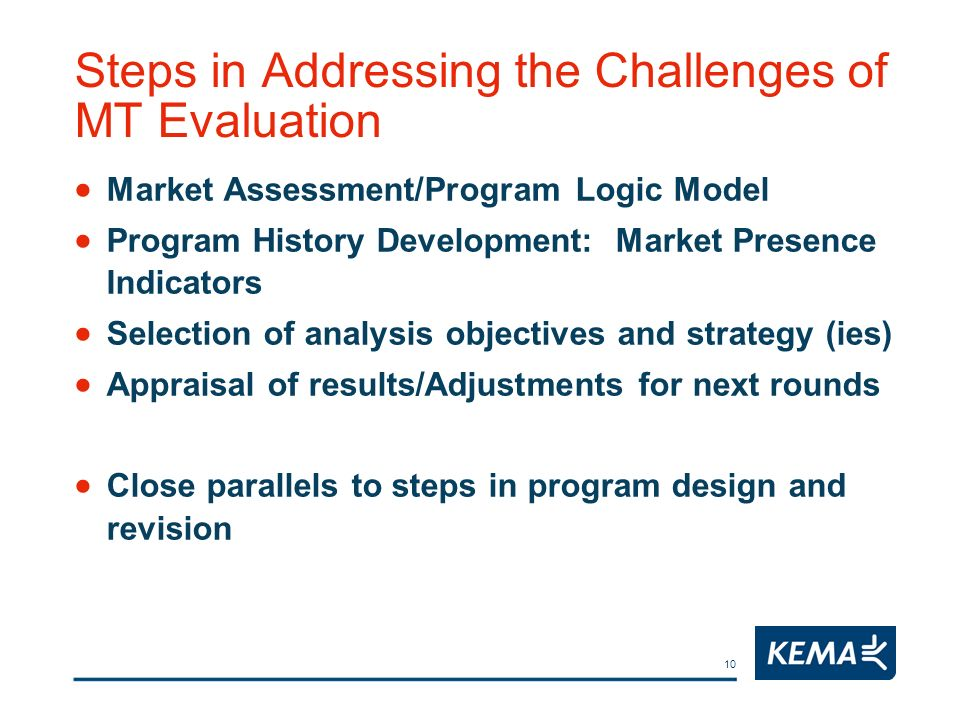 10 Steps in Addressing the Challenges of MT Evaluation Market Assessment/Program Logic Model Program History Development: Market Presence Indicators Selection of analysis objectives and strategy (ies) Appraisal of results/Adjustments for next rounds Close parallels to steps in program design and revision