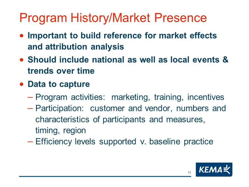 13 Program History/Market Presence Important to build reference for market effects and attribution analysis Should include national as well as local e