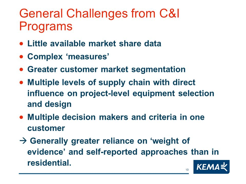 19 General Challenges from C&I Programs Little available market share data Complex measures Greater customer market segmentation Multiple levels of su