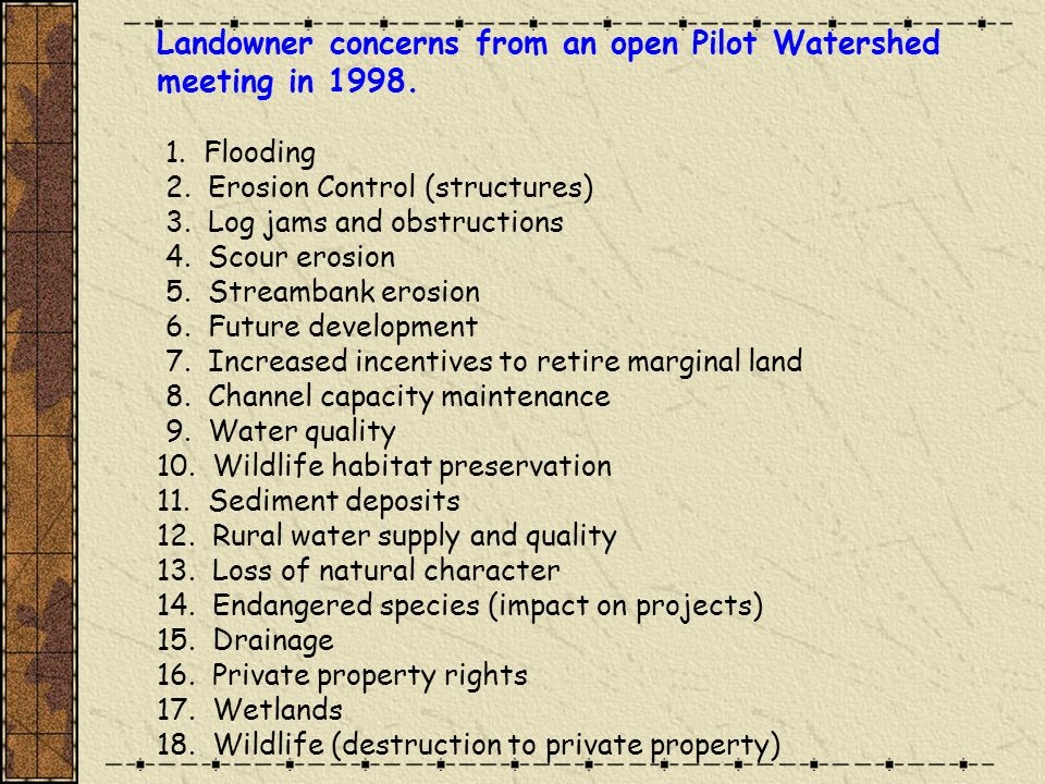 Land cover types desired in the watershed.