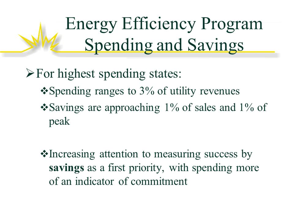 Energy Efficiency Program Spending and Savings For highest spending states: Spending ranges to 3% of utility revenues Savings are approaching 1% of sales and 1% of peak Increasing attention to measuring success by savings as a first priority, with spending more of an indicator of commitment