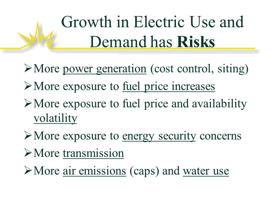 Growth in Electric Use and Demand has Risks More power generation (cost control, siting) More exposure to fuel price increases More exposure to fuel price and availability volatility More exposure to energy security concerns More transmission More air emissions (caps) and water use