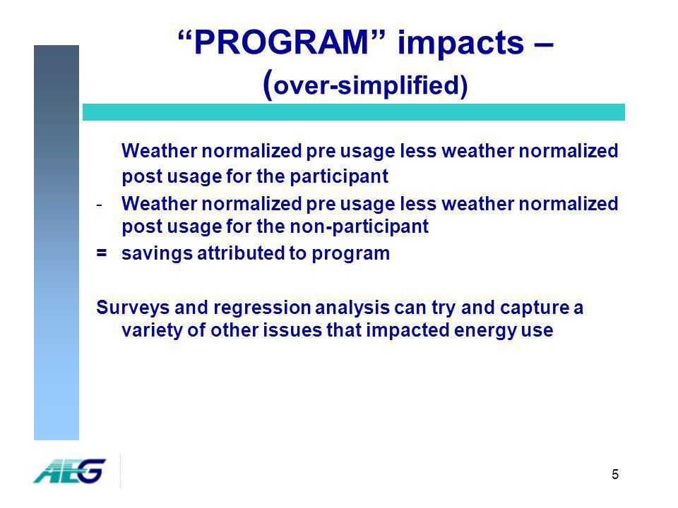 5 PROGRAM impacts – ( over-simplified) Weather normalized pre usage less weather normalized post usage for the participant -Weather normalized pre usage less weather normalized post usage for the non-participant =savings attributed to program Surveys and regression analysis can try and capture a variety of other issues that impacted energy use