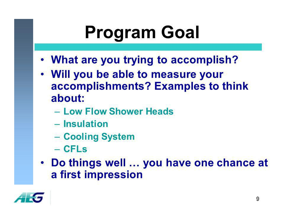 9 Program Goal What are you trying to accomplish. Will you be able to measure your accomplishments.