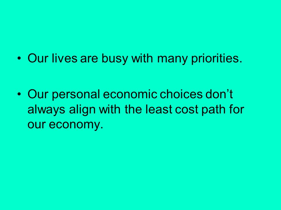 Our lives are busy with many priorities. Our personal economic choices dont always align with the least cost path for our economy.