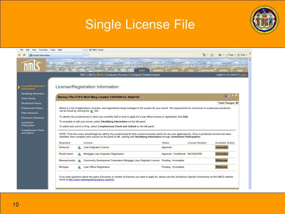 10 Single License File