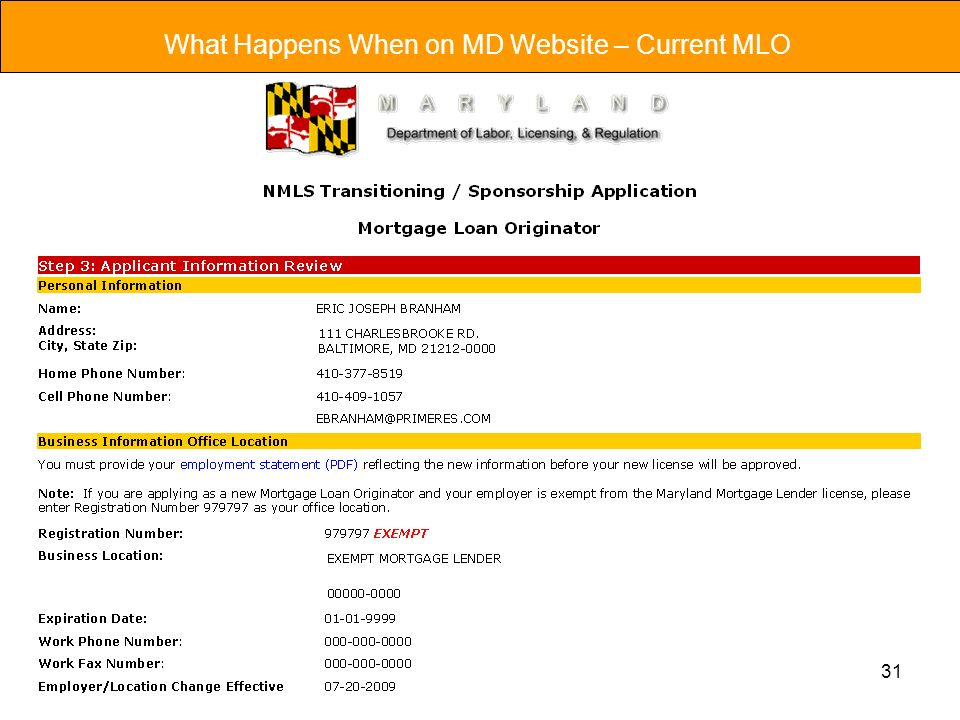 31 What Happens When on MD Website – Current MLO