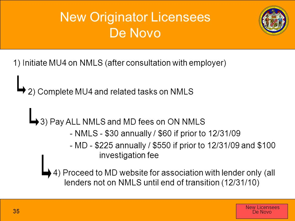 35 New Originator Licensees De Novo New Licensees De Novo 1) Initiate MU4 on NMLS (after consultation with employer) 2) Complete MU4 and related tasks on NMLS 3) Pay ALL NMLS and MD fees on ON NMLS - NMLS - $30 annually / $60 if prior to 12/31/09 - MD - $225 annually / $550 if prior to 12/31/09 and $100 investigation fee 4) Proceed to MD website for association with lender only (all lenders not on NMLS until end of transition (12/31/10)
