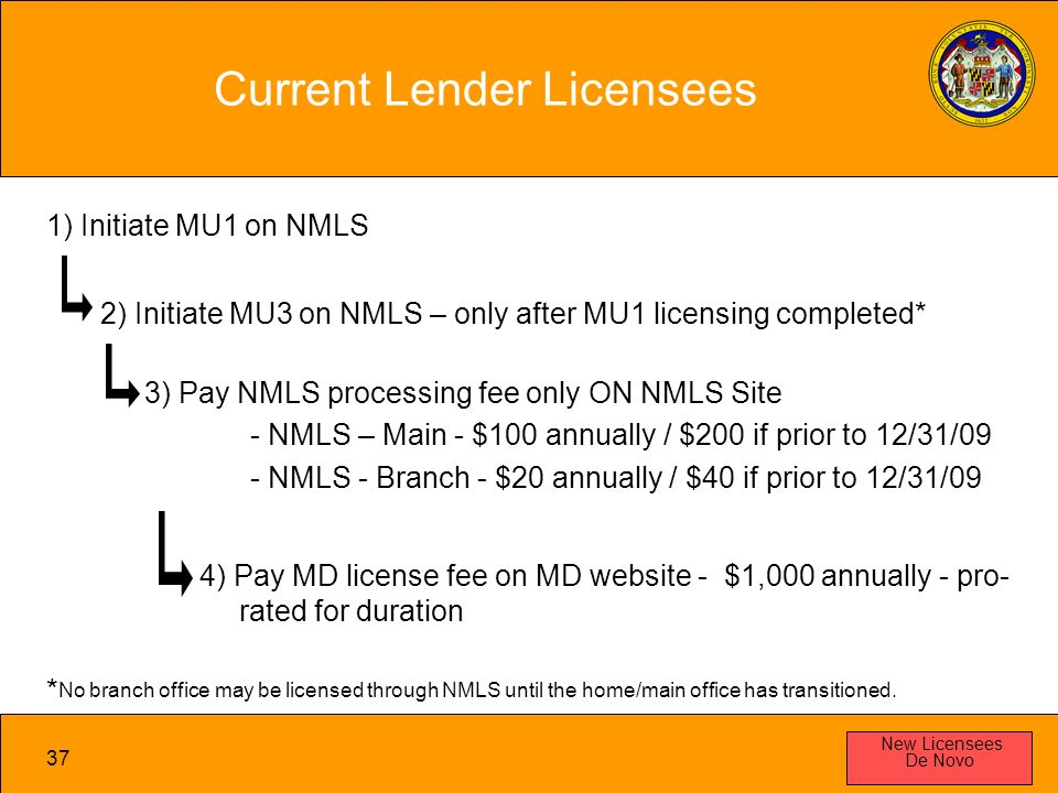 37 Current Lender Licensees New Licensees De Novo 1) Initiate MU1 on NMLS 2) Initiate MU3 on NMLS – only after MU1 licensing completed* 3) Pay NMLS processing fee only ON NMLS Site - NMLS – Main - $100 annually / $200 if prior to 12/31/09 - NMLS - Branch - $20 annually / $40 if prior to 12/31/09 4) Pay MD license fee on MD website - $1,000 annually - pro- rated for duration * No branch office may be licensed through NMLS until the home/main office has transitioned.