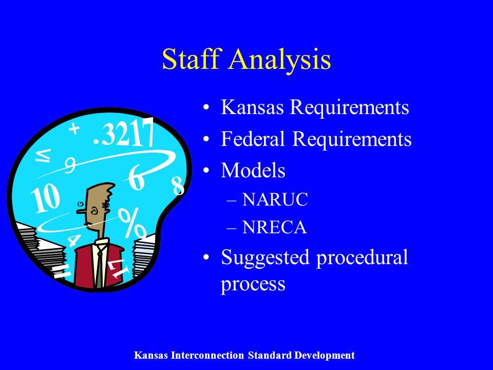 Kansas Interconnection Standard Development Kansas Requirements KCC required to establish interconnection standards for each jurisdictional utility by September 1, 2003.