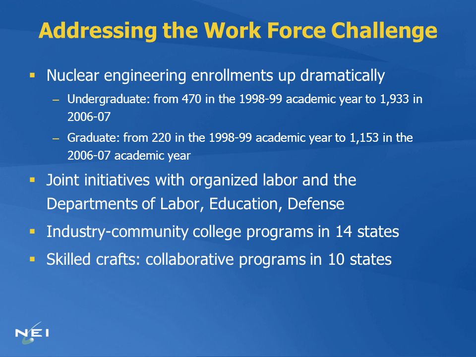 Addressing the Work Force Challenge Nuclear engineering enrollments up dramatically – Undergraduate: from 470 in the 1998-99 academic year to 1,933 in 2006-07 – Graduate: from 220 in the 1998-99 academic year to 1,153 in the 2006-07 academic year Joint initiatives with organized labor and the Departments of Labor, Education, Defense Industry-community college programs in 14 states Skilled crafts: collaborative programs in 10 states