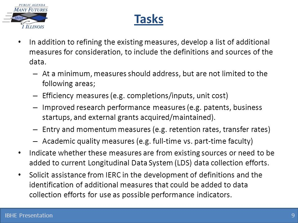 Tasks In addition to refining the existing measures, develop a list of additional measures for consideration, to include the definitions and sources o