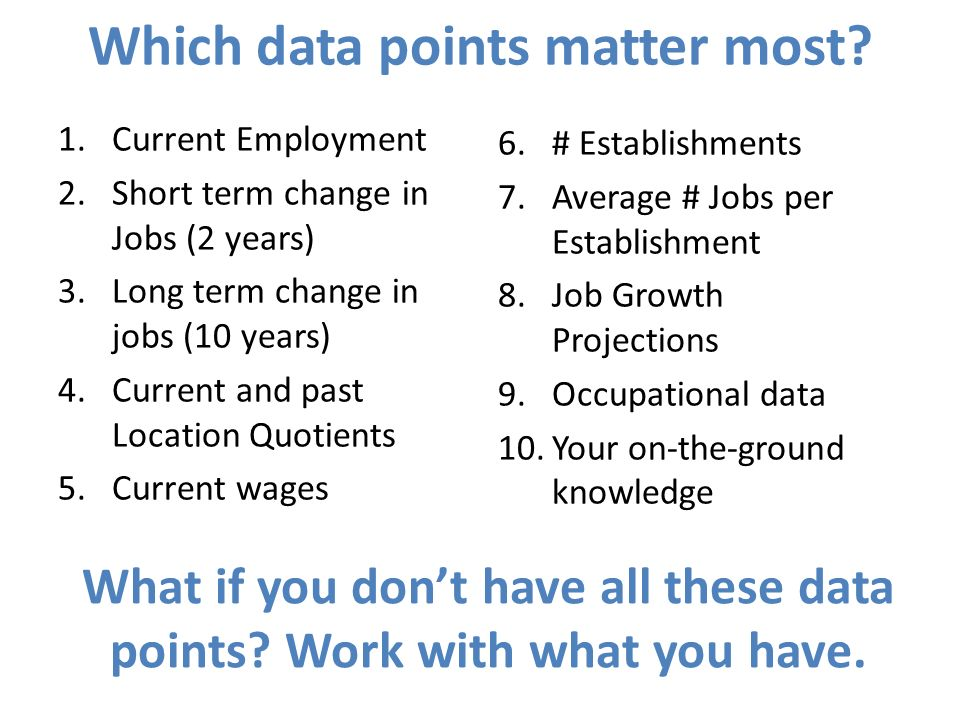 Which data points matter most? 1.Current Employment 2.Short term change in Jobs (2 years) 3.Long term change in jobs (10 years) 4.Current and past Loc