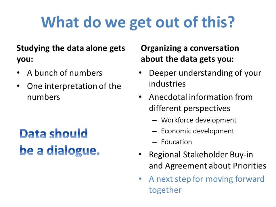 What do we get out of this? Studying the data alone gets you: A bunch of numbers One interpretation of the numbers Organizing a conversation about the