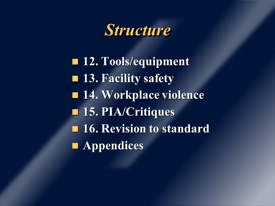 StructureStructure 12. Tools/equipment 12. Tools/equipment 13.