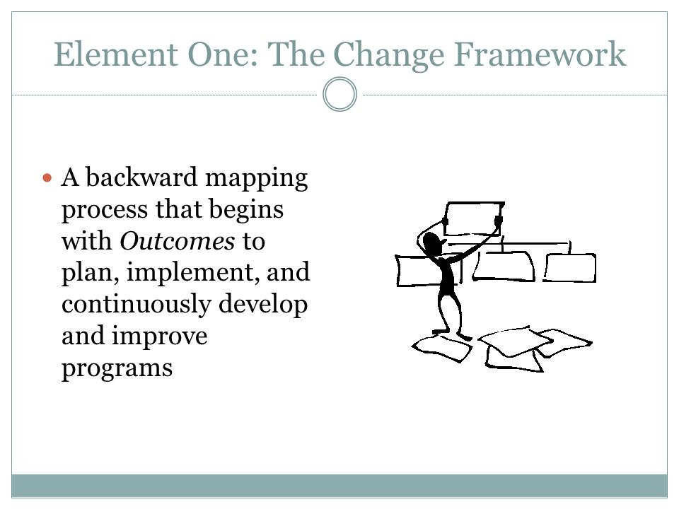 Element One: The Change Framework A backward mapping process that begins with Outcomes to plan, implement, and continuously develop and improve progra