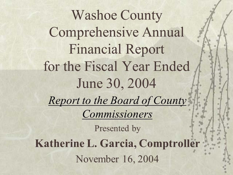 Washoe County Comprehensive Annual Financial Report for the Fiscal Year Ended June 30, 2004 Report to the Board of County Commissioners Presented by K