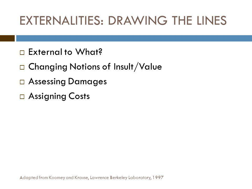 EXTERNALITIES: DRAWING THE LINES External to What.