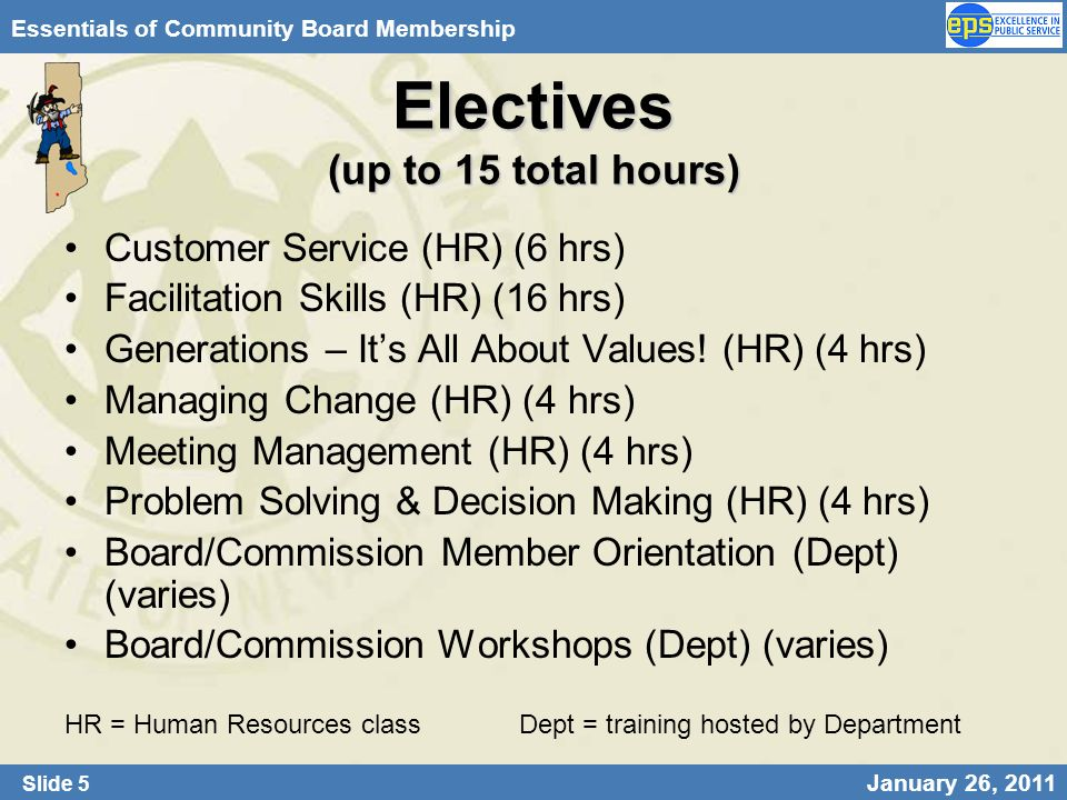 Slide 5 January 26, 2011 Essentials of Community Board Membership Electives (up to 15 total hours) Customer Service (HR) (6 hrs) Facilitation Skills (
