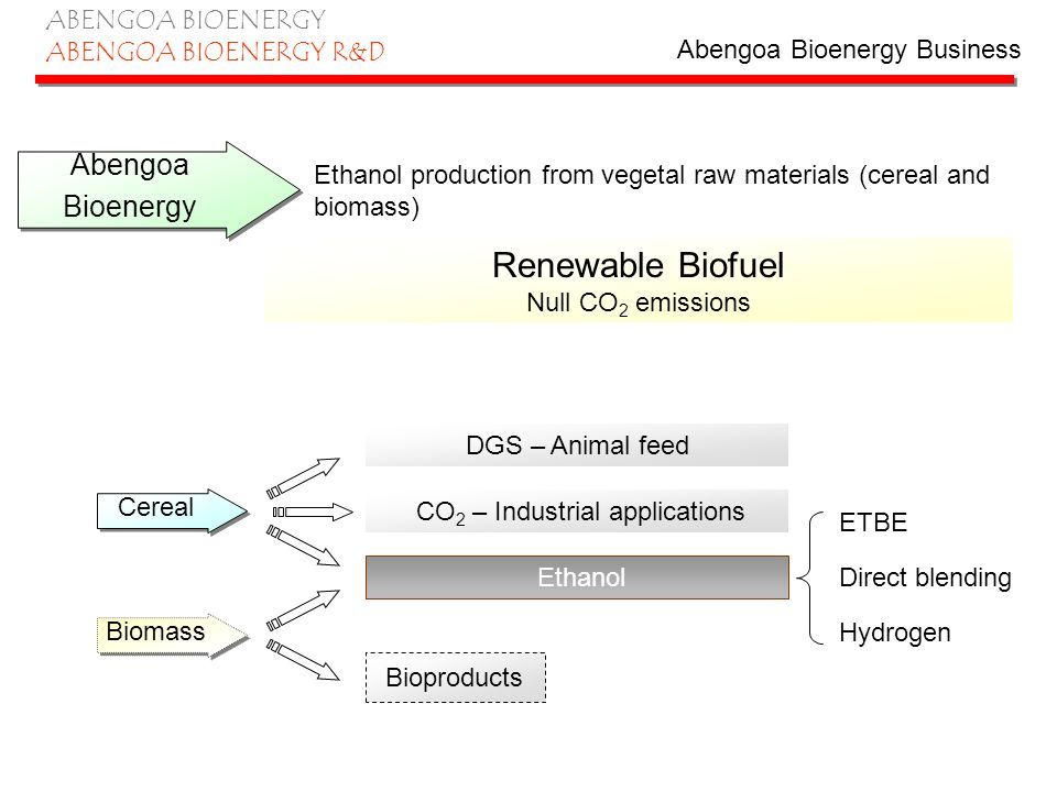 ABENGOA BIOENERGY ABENGOA BIOENERGY R&D Production Process Technology based in fermentation of sugars Sugar (glucose)+ AirCO 2 + Ethanol C 6 H 12 O 6 + O 2 3 CO 2 + 3 C 2 OH 6 Yeast Used feedstock is transformed into sugars, the process would change depending on the chemical composition: Sugar beet or sugar cane: direct fermentation Cereal: starch, previous saccharification (enzymes) Lignocellulosic biomass: cellulose and hemicellulose.