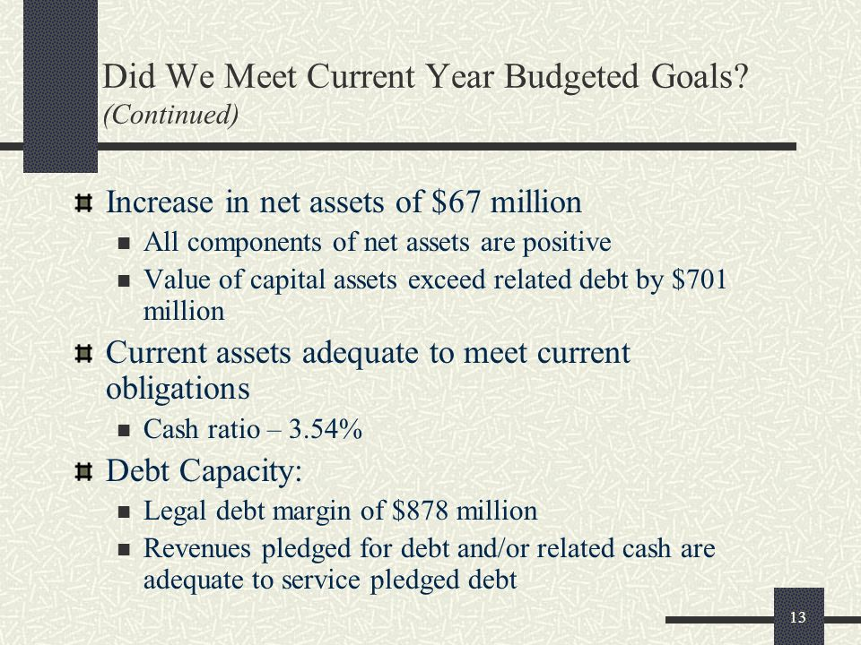 13 Did We Meet Current Year Budgeted Goals? (Continued) Increase in net assets of $67 million All components of net assets are positive Value of capit