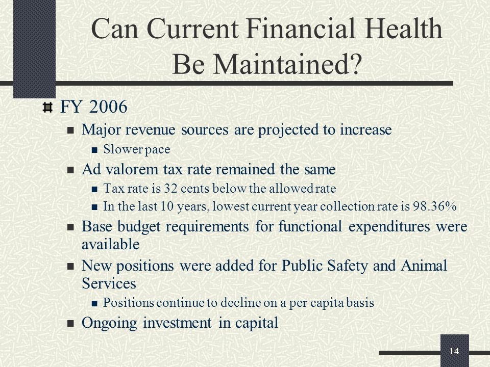 14 Can Current Financial Health Be Maintained? FY 2006 Major revenue sources are projected to increase Slower pace Ad valorem tax rate remained the sa