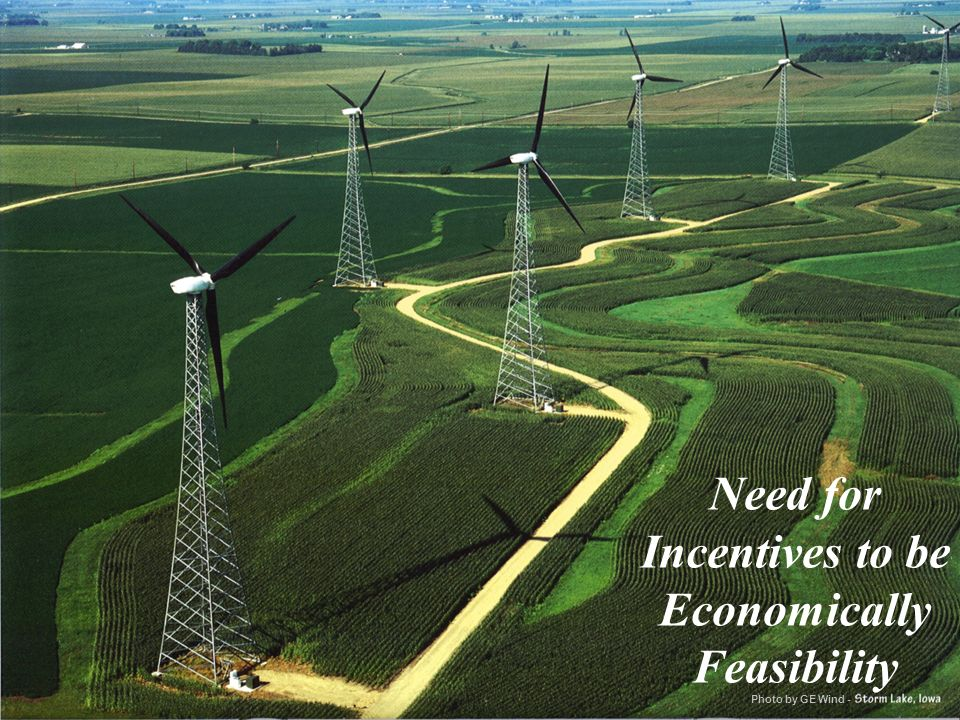 Need for Incentives to be Economically Feasibility Photo by GE Wind -