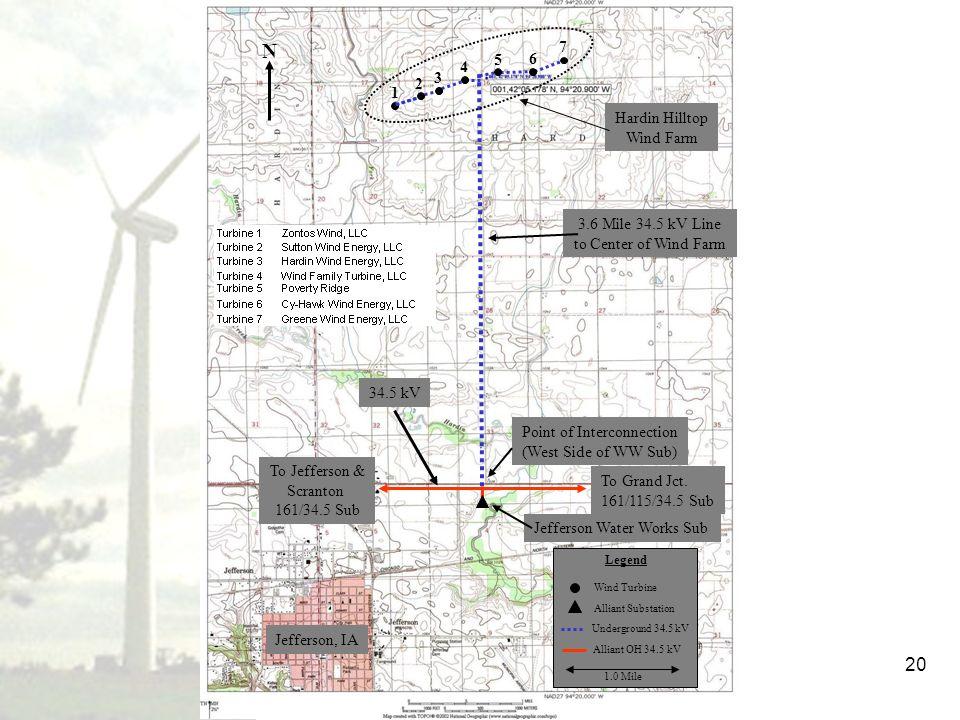 20 Wind Turbine Underground 34.5 kV Legend Alliant OH 34.5 kV Jefferson Water Works Sub Point of Interconnection (West Side of WW Sub) Alliant Substat