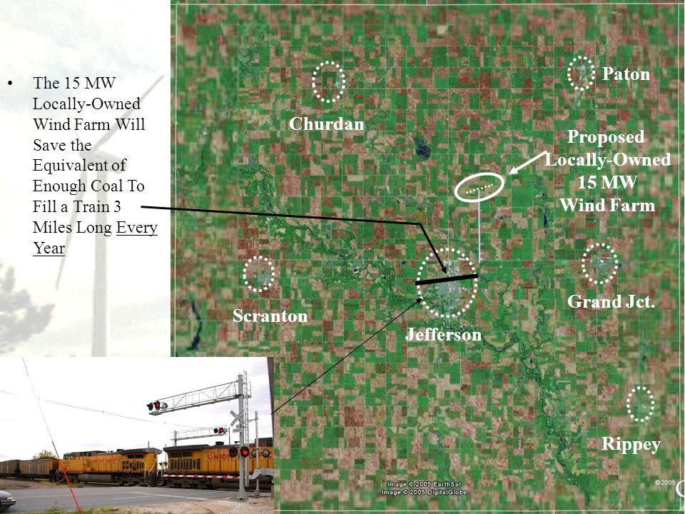 29 Proposed Locally-Owned 15 MW Wind Farm Jefferson Scranton Churdan Grand Jct. Rippey Paton The 15 MW Locally-Owned Wind Farm Will Save the Equivalen