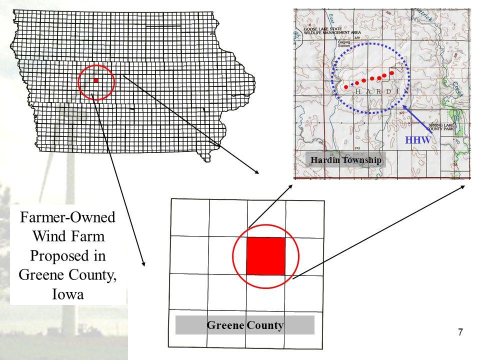 7 Farmer-Owned Wind Farm Proposed in Greene County, Iowa Greene County Hardin Township HHW