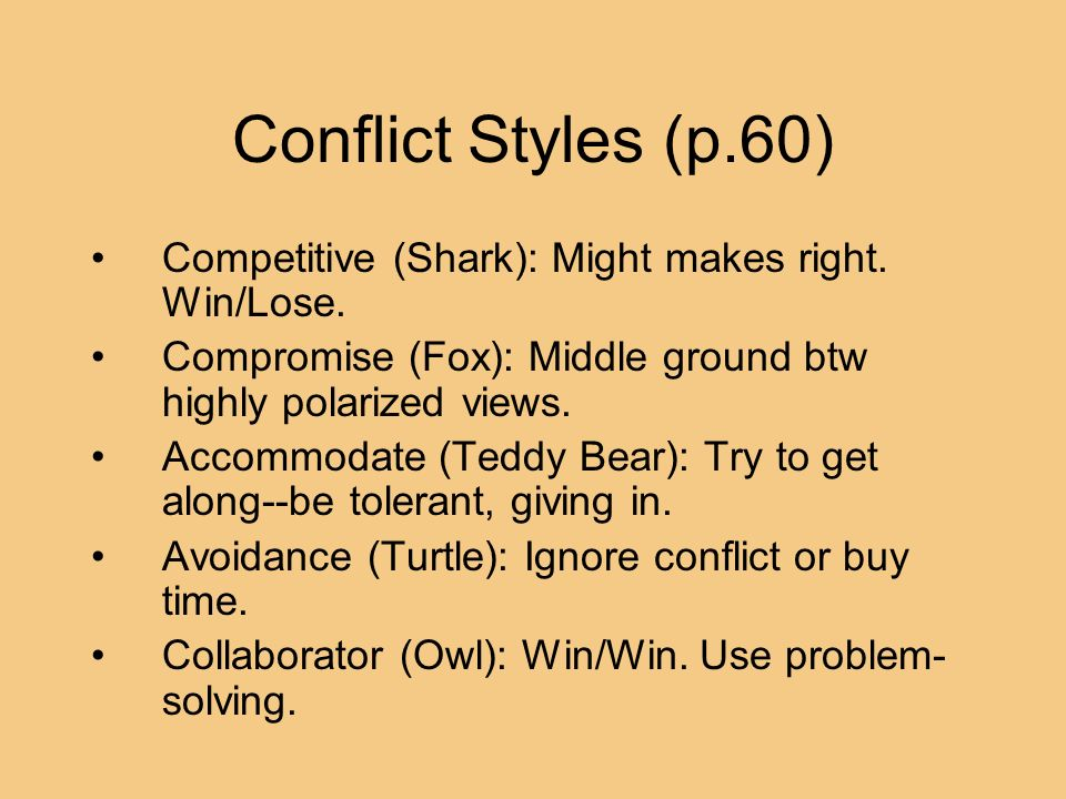 Conflict Styles (p.60) Competitive (Shark): Might makes right. Win/Lose. Compromise (Fox): Middle ground btw highly polarized views. Accommodate (Tedd