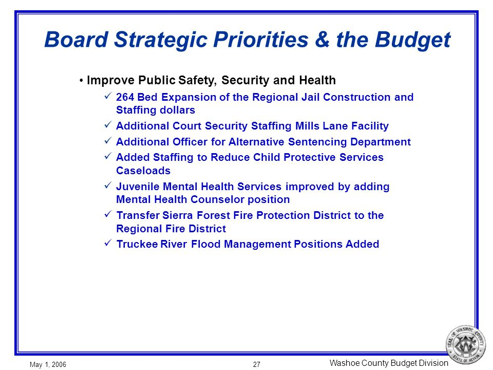 Washoe County Budget Division May 1, 200627 Board Strategic Priorities & the Budget Improve Public Safety, Security and Health 264 Bed Expansion of th