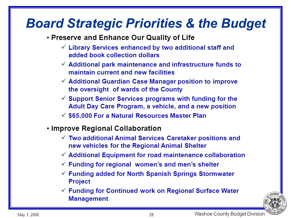Washoe County Budget Division May 1, 200628 Board Strategic Priorities & the Budget Preserve and Enhance Our Quality of Life Library Services enhanced by two additional staff and added book collection dollars Additional park maintenance and infrastructure funds to maintain current and new facilities Additional Guardian Case Manager position to improve the oversight of wards of the County Support Senior Services programs with funding for the Adult Day Care Program, a vehicle, and a new position $65,000 For a Natural Resources Master Plan Improve Regional Collaboration Two additional Animal Services Caretaker positions and new vehicles for the Regional Animal Shelter Additional Equipment for road maintenance collaboration Funding for regional womens and mens shelter Funding added for North Spanish Springs Stormwater Project Funding for Continued work on Regional Surface Water Management