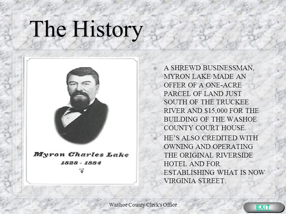 Washoe County Clerk s Office The History EXIT