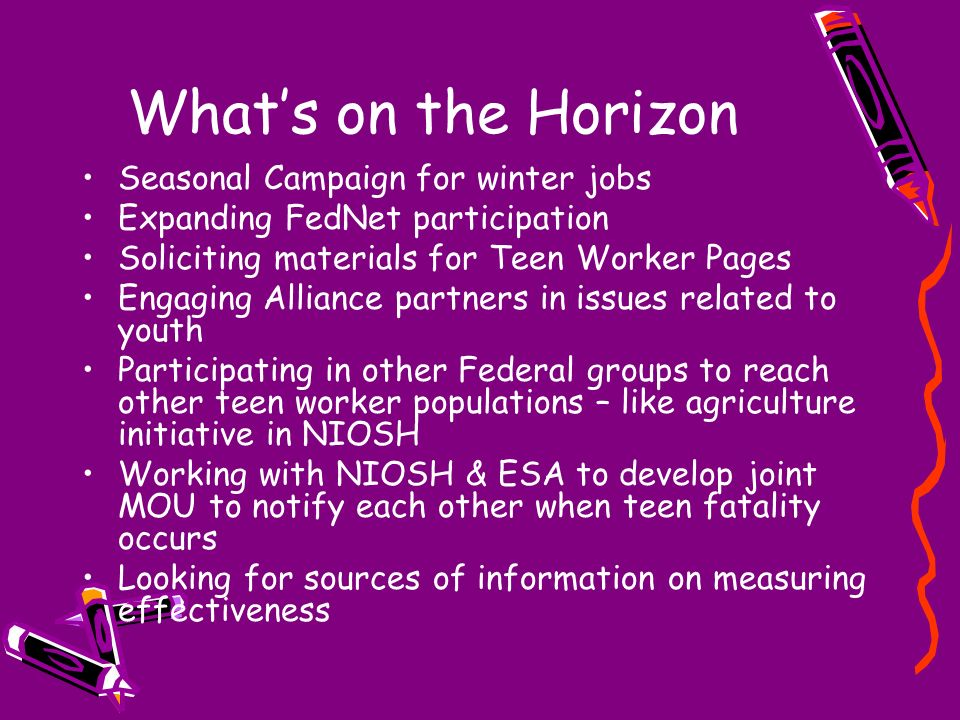 Whats on the Horizon Seasonal Campaign for winter jobs Expanding FedNet participation Soliciting materials for Teen Worker Pages Engaging Alliance par