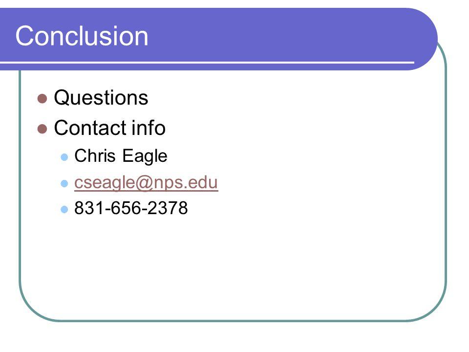 Conclusion Questions Contact info Chris Eagle cseagle@nps.edu 831-656-2378
