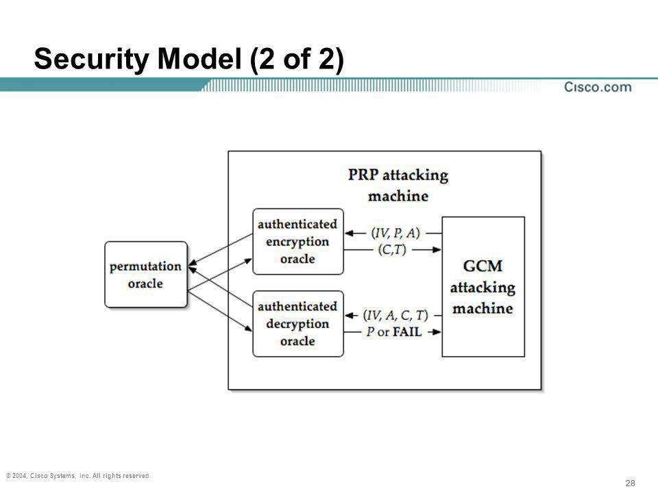 28 © 2004, Cisco Systems, Inc. All rights reserved. 28 Security Model (2 of 2)
