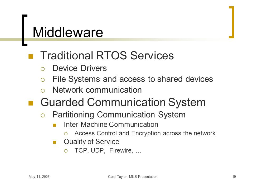 May 11, 2006Carol Taylor, MILS Presentation19 Middleware Traditional RTOS Services Device Drivers File Systems and access to shared devices Network co
