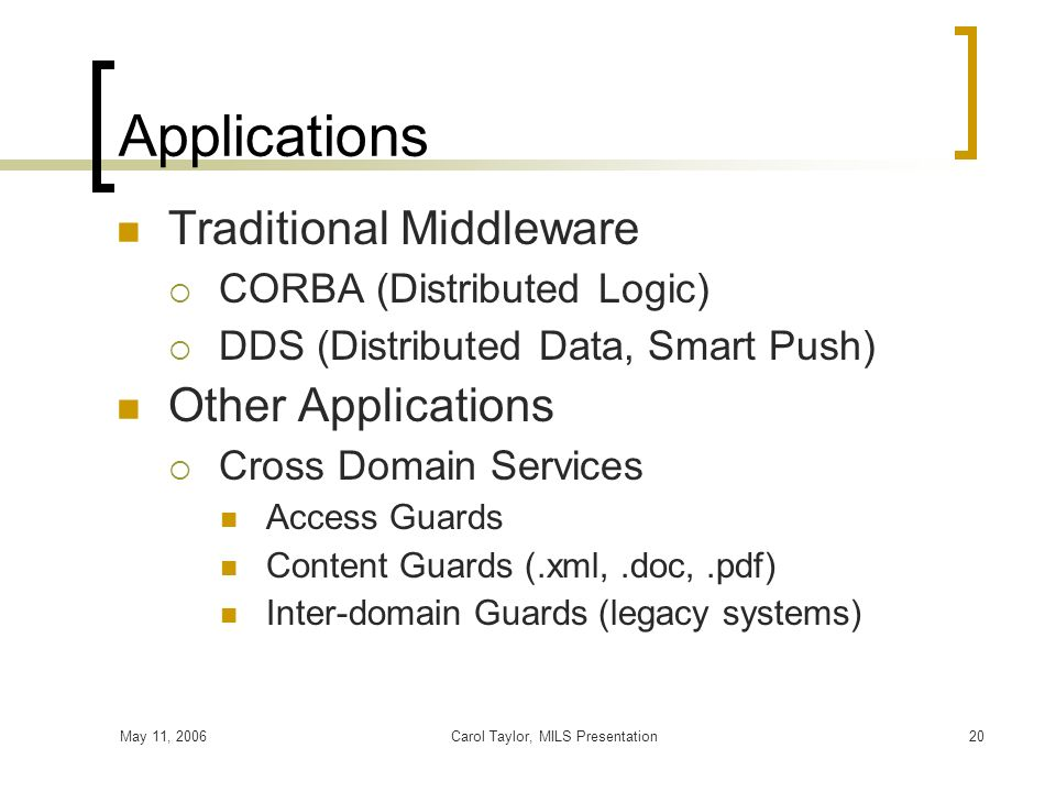 May 11, 2006Carol Taylor, MILS Presentation20 Applications Traditional Middleware CORBA (Distributed Logic) DDS (Distributed Data, Smart Push) Other A
