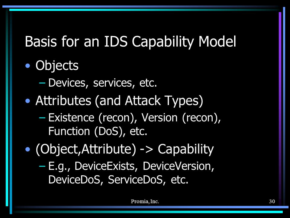 Promia, Inc.30 Basis for an IDS Capability Model Objects –Devices, services, etc.