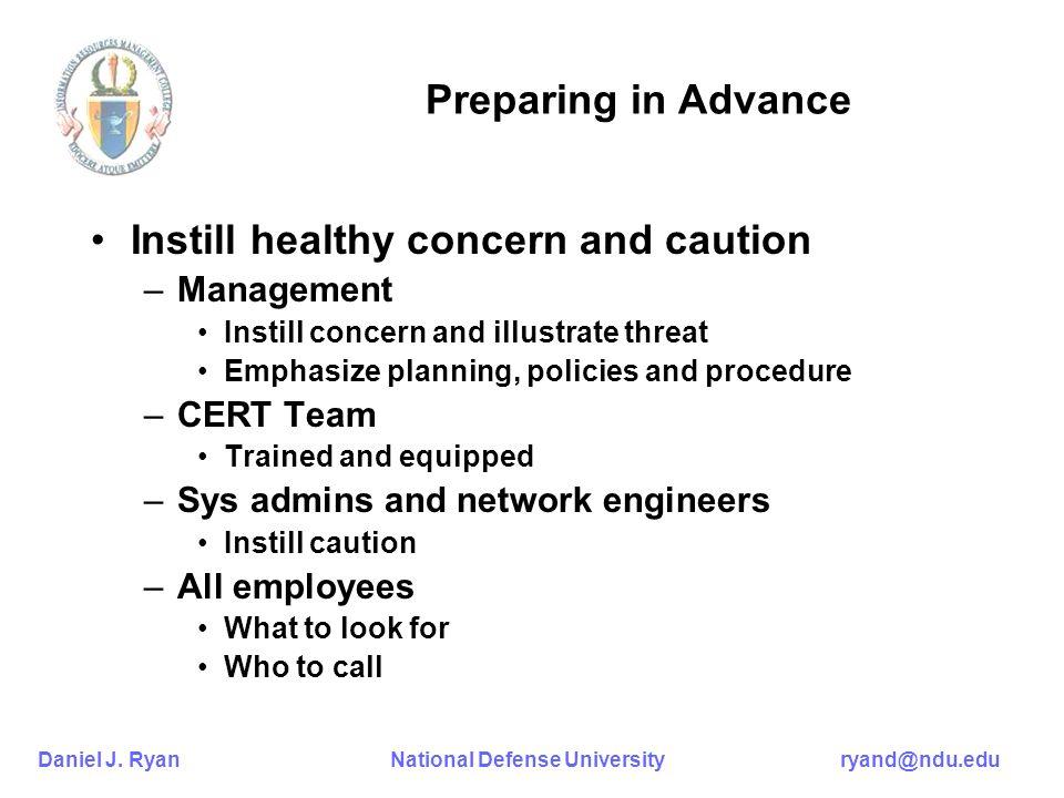 Daniel J. Ryan National Defense University ryand@ndu.edu Preparing in Advance Instill healthy concern and caution –Management Instill concern and illu