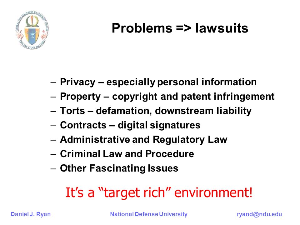 Daniel J. Ryan National Defense University ryand@ndu.edu Problems => lawsuits –Privacy – especially personal information –Property – copyright and pat