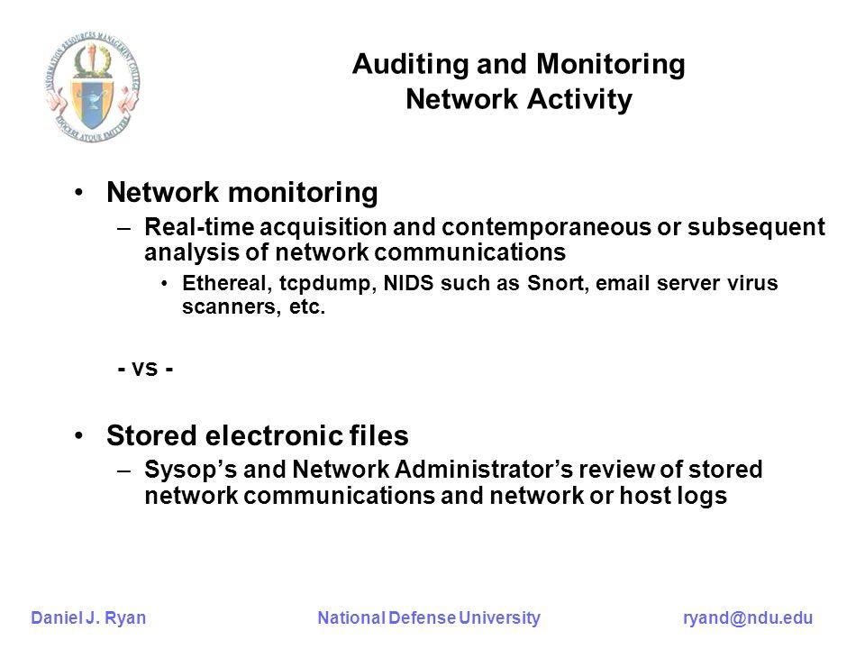 Daniel J. Ryan National Defense University ryand@ndu.edu Auditing and Monitoring Network Activity Network monitoring –Real-time acquisition and contem