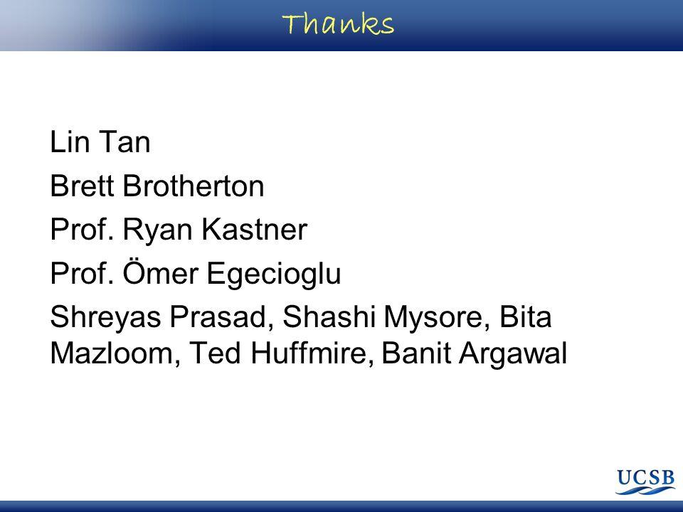 Thanks Lin Tan Brett Brotherton Prof. Ryan Kastner Prof.