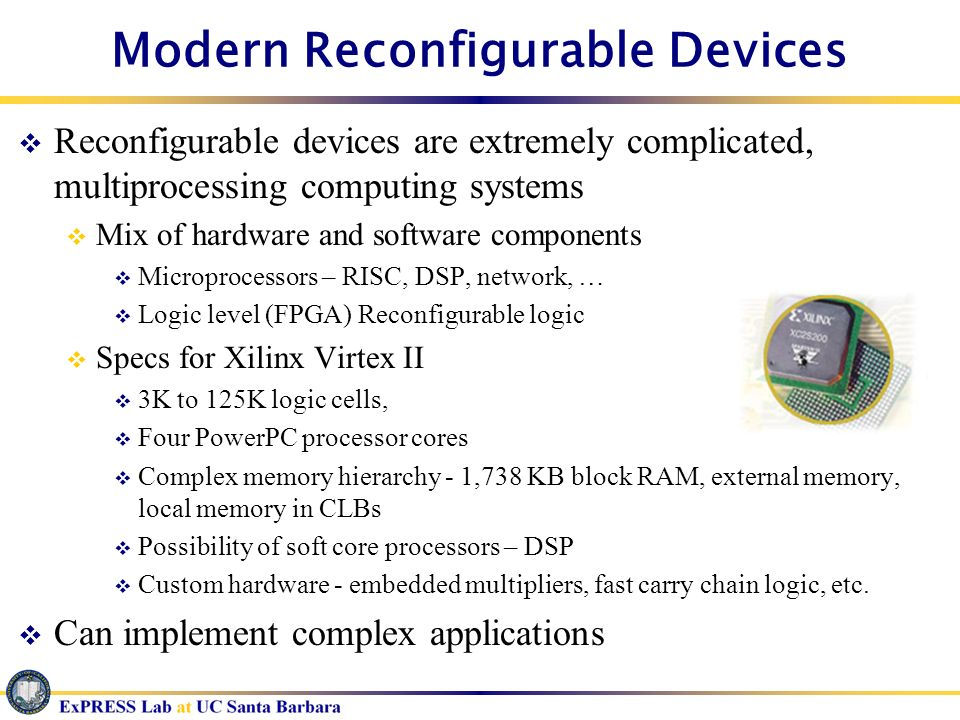 Modern Reconfigurable Devices Reconfigurable devices are extremely complicated, multiprocessing computing systems Mix of hardware and software compone